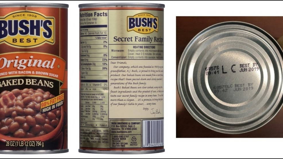 BUSH?S BEST ORIGINAL BAKED BEANS Voluntary Recall ? 28 ounce with UPC of 0 39400 01614 4 and Lot Codes 6057S LC and 6057P LC with the Best By date of Jun ...