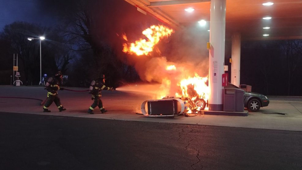 Car Crashes into a Gas Station, Gas Pump Bursts Into Flame