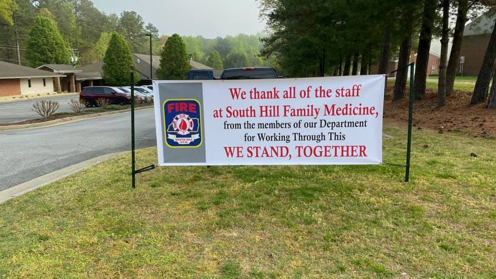 Virginia Fire Department Sets Up Banners By Hospital Thanking Healthcare Workers Wset